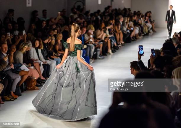 Models walk the runway at the Zang Toi fashion show during New York Fashion Week The Shows at Gallery 3 Skylight Clarkson Sq on September 13 2017 in...