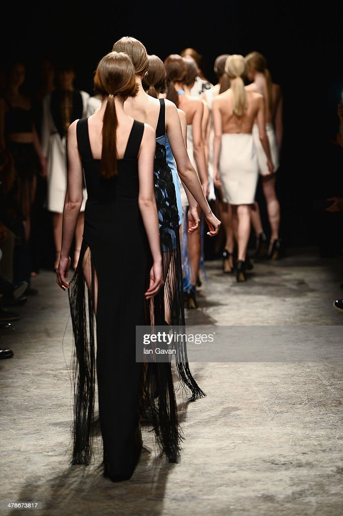 Models walk the runway at the Zeynep Erdogan show during MBFWI presented by American Express Fall/Winter 2014 on March 14, 2014 in Istanbul, Turkey.