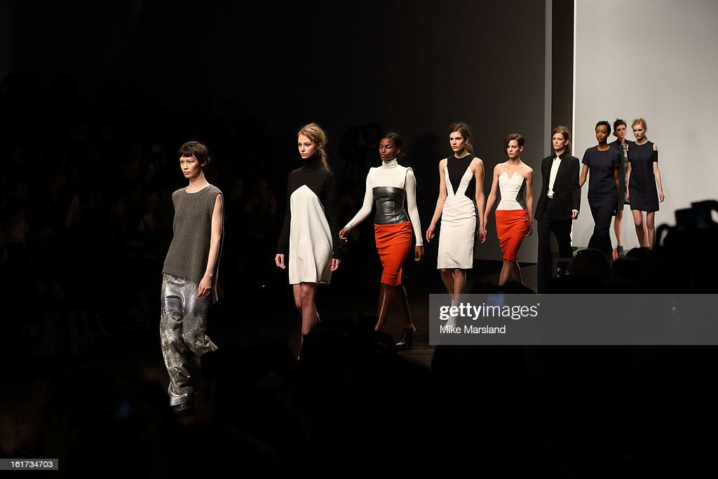 Models walk the runway at the Zoe Jordan show during London Fashion Week Fall/Winter 2013/14 at Somerset House on February 15, 2013 in London, England.
