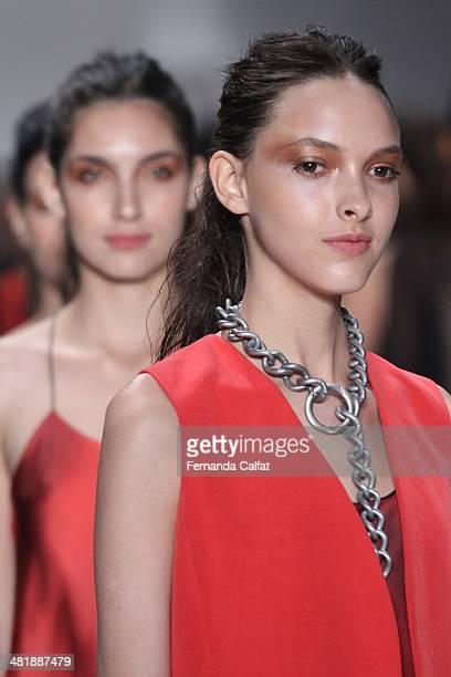 Models walk the runway at Uma Raquel Davidowicz show during Sao Paulo Fashion Week Summer 2014/2015 at Parque Candido Portinari on April 1 2014 in...