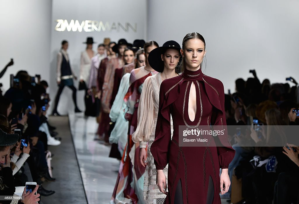 Models walk the runway at Zimmermann fashion show during MercedesBenz Fashion Week Fall 2015 at ArtBeam on February 13 2015 in New York City