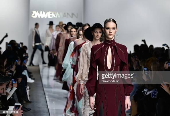 Models walk the runway at Zimmermann fashion show during MercedesBenz Fashion Week Fall 2015 at ArtBeam on February 13 2015 in New York City