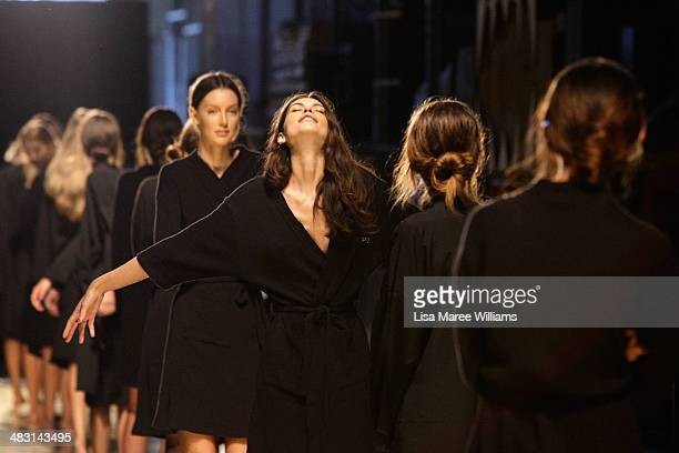 Models walk the runway during a rehearsal ahead of the Alex Perry show at MercedesBenz Fashion Week Australia 2014 at Carriageworks on April 7 2014...