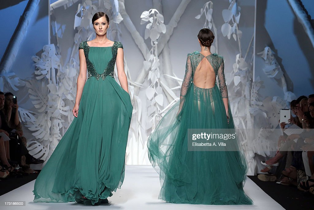 Models walk the runway during Abed Mahfouz F/W 2013-2014 Haute Couture collection fashion show as part of AltaRoma AltaModa Fashion Week at Santo Spirito In Sassia on July 9, 2013 in Rome, Italy.