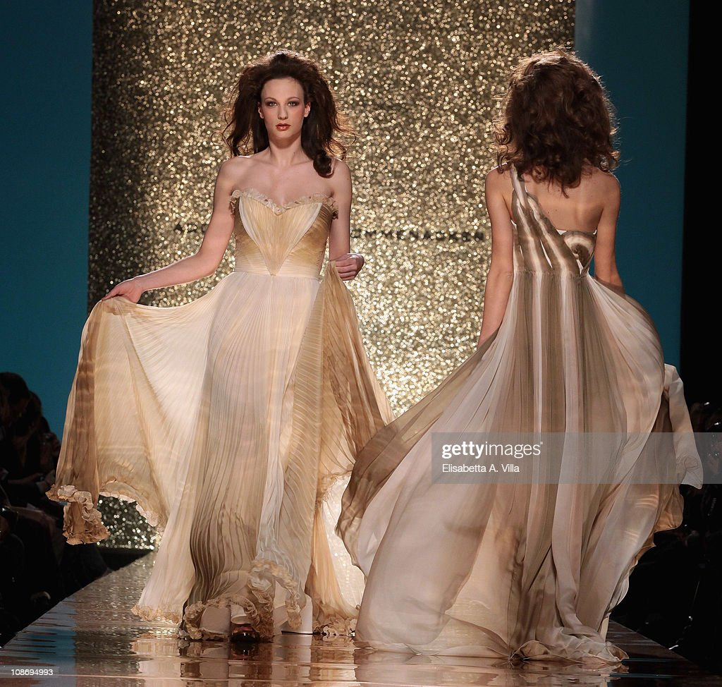 Models walk the runway during Addy Van Den Krommenacker fashion show as part of AltaModa AltaRoma Spring/Summer 2011 on February 1 2011 in Rome Italy