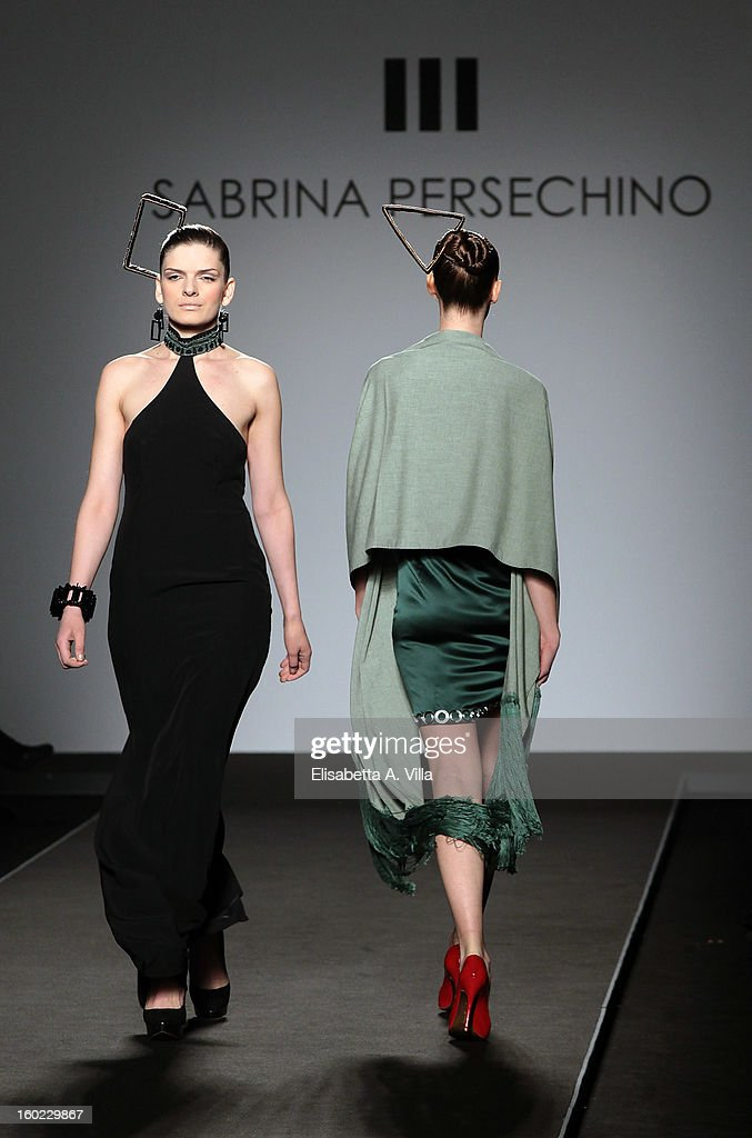 Models walk the runway during Atelier Persechino S/S 2013 Italian Haute Couture colletion fashion show as part of AltaRoma AltaModa Fashion Week at Santo Spirito In Sassia on January 28, 2013 in Rome, Italy.