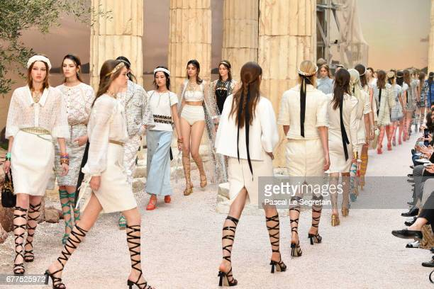 Models walk the runway during Chanel Cruise 2017/2018 Collection at Grand Palais on May 3 2017 in Paris France