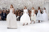 Models walk the runway during Christian Dior show as part of Paris Fashion Week Haute Couture Fall/Winter 20142015 on July 7 2014 in Paris France