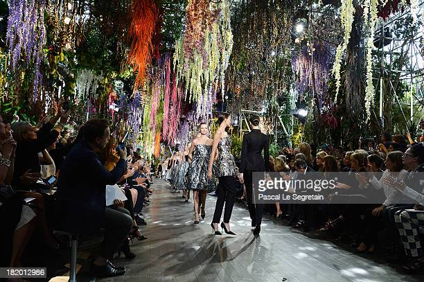 Models walk the runway during Christian Dior show as part of the Paris Fashion Week Womenswear Spring/Summer 2014 at Musee Rodin on September 27 2013...