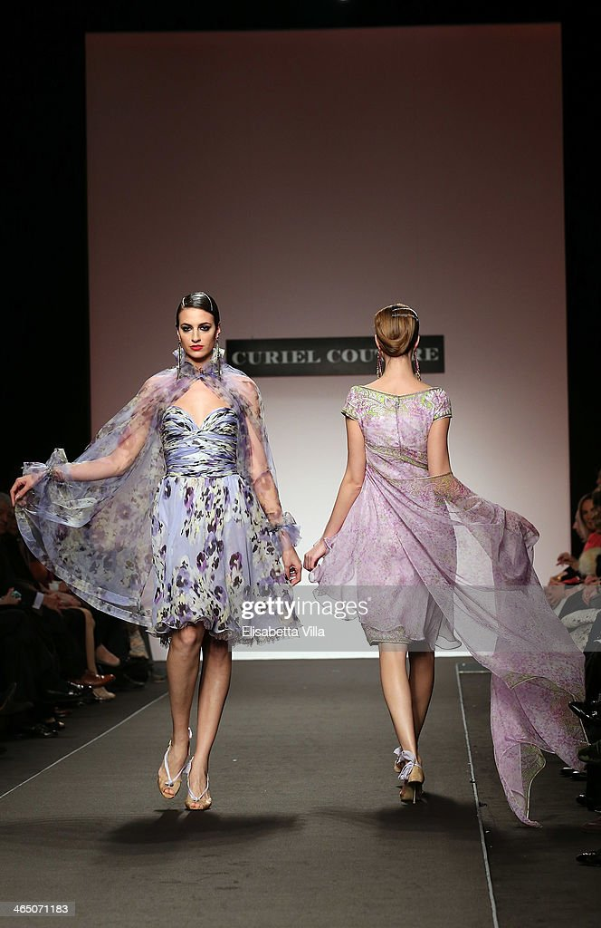 Models walk the runway during Curiel Couture S/S 2014 Italian Haute Couture collection fashion show as part of AltaRoma AltaModa Fashion Week at...