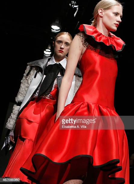 Models walk the runway during Daizy Shely F/W 20152016 colletion fashion show as part of AltaRoma AltaModa Fashion Week at Maxxi Museum on January 31...