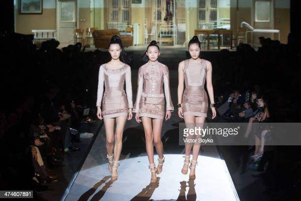 Models walk the runway during Dsquared2 show during Milan Fashion Week Womenswear Autumn/Winter 2014 on February 24 2014 in Milan Italy