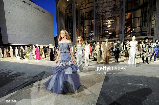 Models walk the runway during Fashion's Night Out The Show at Lincoln Center on September 7 2010 in New York City