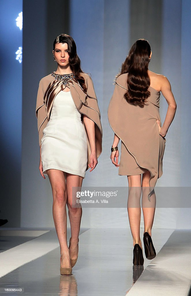 Models walk the runway during Fausto Sarli S/S 2013 Italian Haute Couture colletion fashion show as part of AltaRoma AltaModa Fashion Week at Santo Spirito In Sassia on January 26, 2013 in Rome, Italy.
