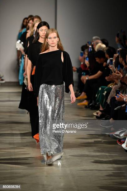 Models walk the runway during Finale at the Anteprima show during Milan Fashion Week Spring/Summer 2018 on September 21 2017 in Milan Italy