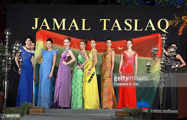 Models walk the runway during Jamal Taslaq fashion show as part of AltaModa AltaRoma Fall/Winter 2011 at the Palestinian Embassy on July 9 2011 in...