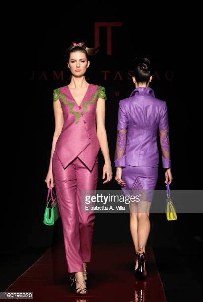 Models walk the runway during Jamal Taslaq S/S 2013 Haute Couture colletion fashion show as part of AltaRoma AltaModa Fashion Week at Santo Spirito...