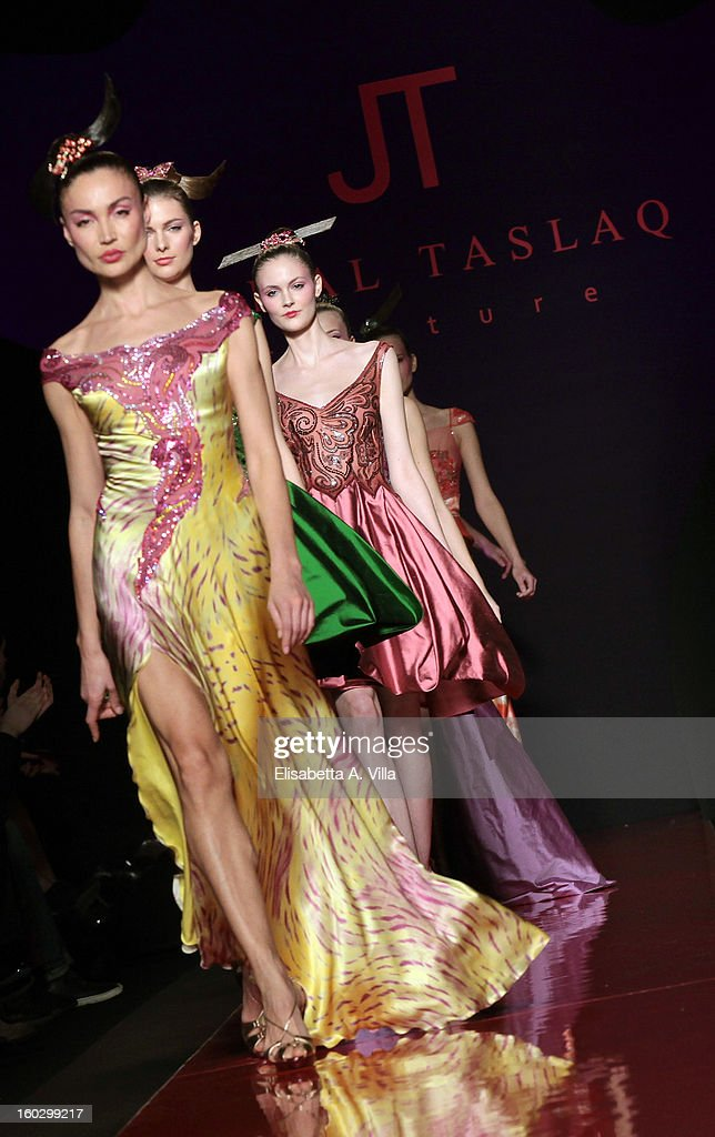Models walk the runway during Jamal Taslaq S/S 2013 Haute Couture colletion fashion show as part of AltaRoma AltaModa Fashion Week at Santo Spirito In Sassia on January 28, 2013 in Rome, Italy.