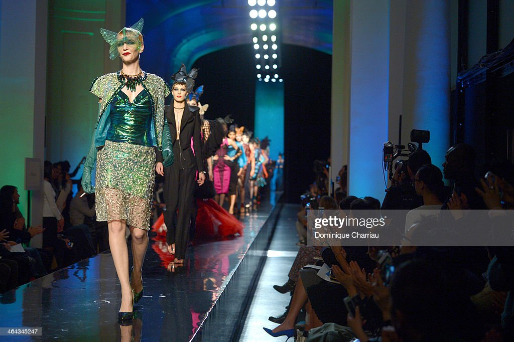 Models walk the runway during Jean Paul Gaultier show as part of Paris Fashion Week Haute Couture Spring/Summer 2014 on January 22, 2014 in Paris, France.