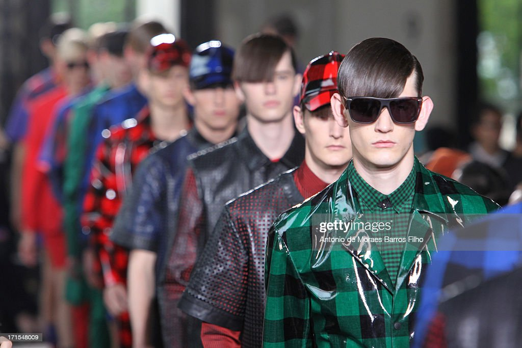 Models walk the runway during John Lawrence Sullivan Menswear Spring/Summer 2014 Show As Part Of The Paris Fashion Week on June 26, 2013 in Paris, France.