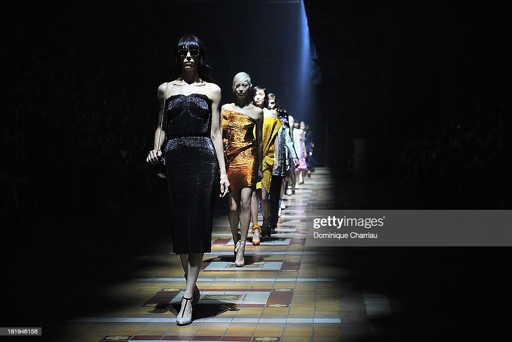 Models walk the runway during Lanvin show as part of the Paris Fashion Week Womenswear Spring/Summer 2014 on September 26, 2013 in Paris, France.