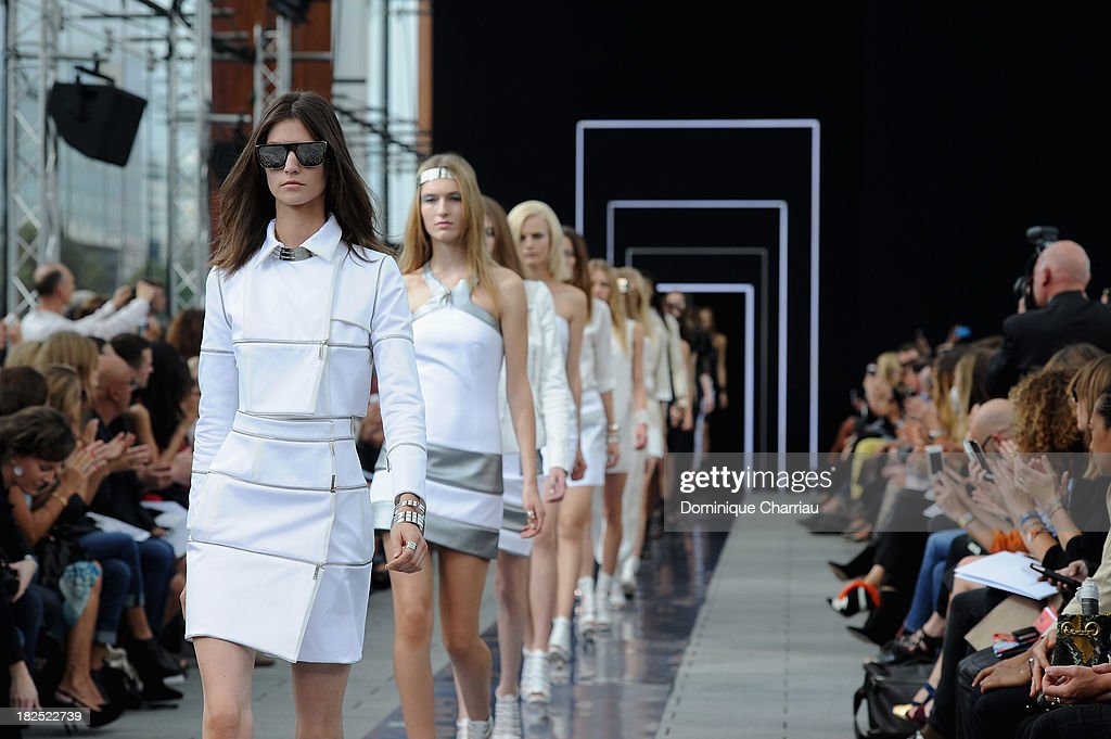 Models walk the runway during Maxime Simoens show as part of the Paris Fashion Week Womenswear Spring/Summer 2014 on September 29, 2013 in Paris, France.