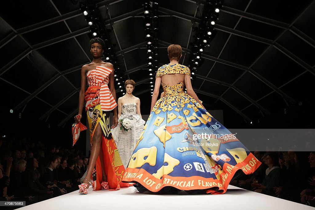 Models walk the runway during Moschino show as part of Milan Fashion Week Womenswear Autumn/Winter 2014 on February 20, 2014 in Milan, Italy.