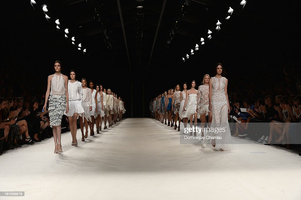 Models walk the runway during Nina Ricci show as part of the Paris Fashion Week Womenswear Spring/Summer 2014 on September 26, 2013 in Paris, France.