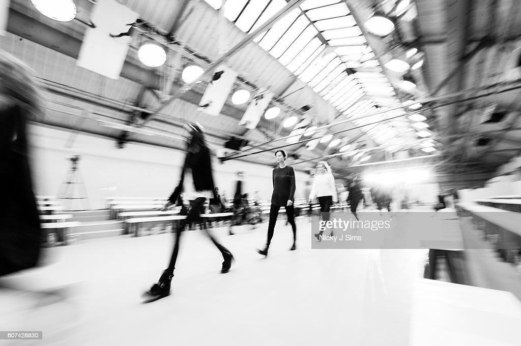 Models walk the runway during rehearsals ahead of the Barbara Casasola show during London Fashion Week Spring/Summer collections 2017 on September 17, 2016 in London, United Kingdom.