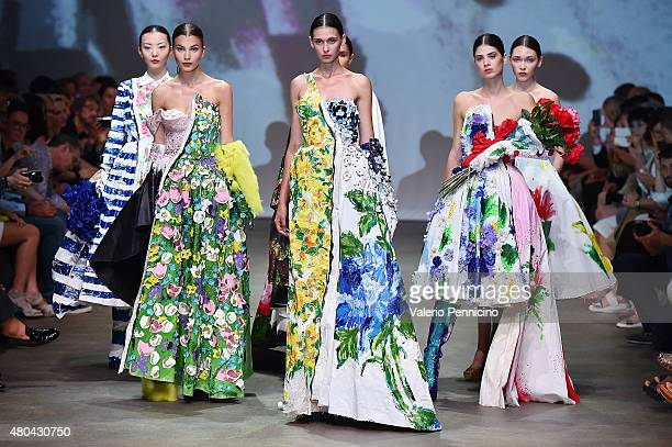Models walk the runway during Richard Quinn Fashion show as part of International Talent Support 2015 Samsung Galaxy Award Fashion Show on July 11...