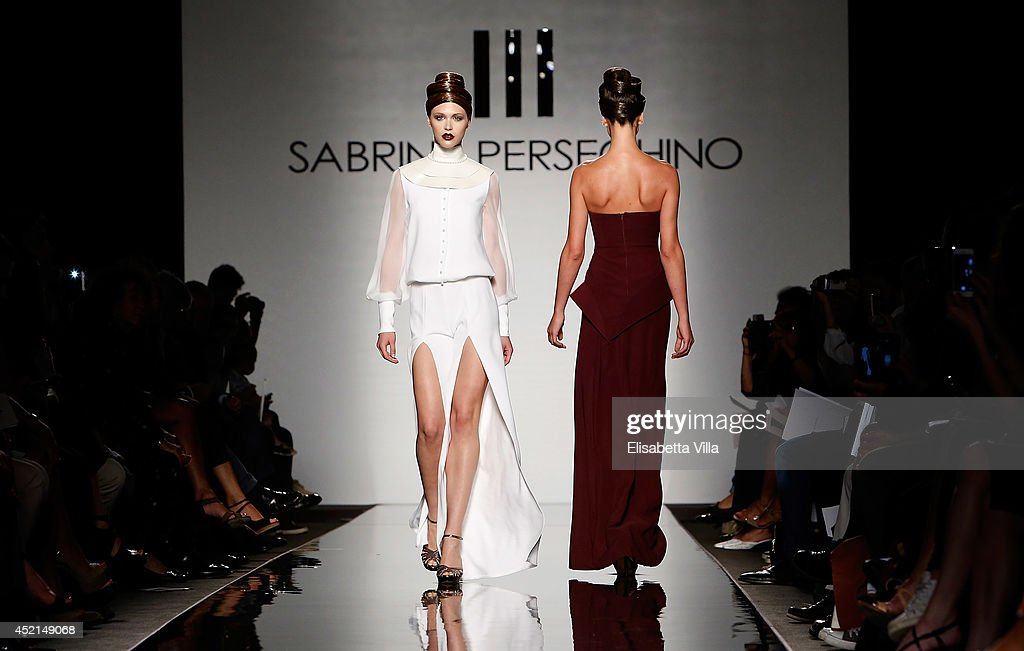 Models walk the runway during Sabrina Persechino F/W 20142015 Italian Haute Couture colletion fashion show as part of AltaRoma AltaModa Fashion Week...