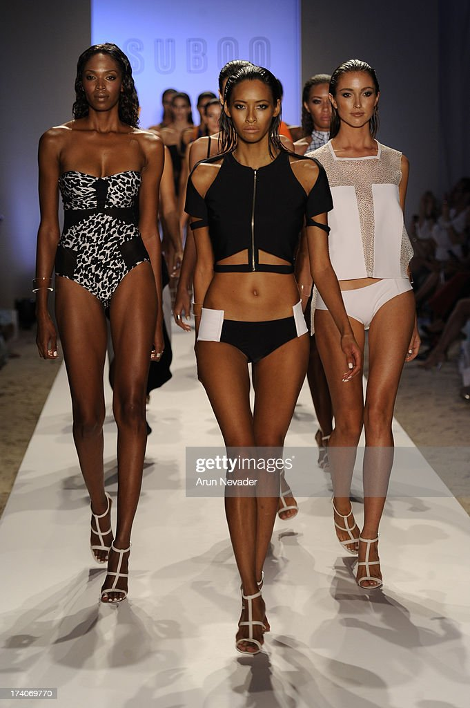 Models walk the runway during Suboo - Mercedes-Benz Fashion Week Swim 2014 at Raleigh Hotel on July 19, 2013 in Miami Beach, Florida.