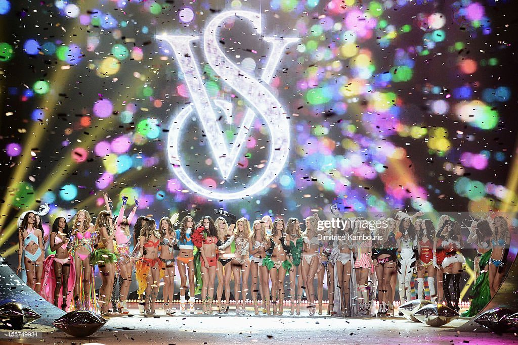 Models walk the runway during the 2012 Victoria's Secret Fashion Show at the Lexington Avenue Armory on November 7, 2012 in New York City.