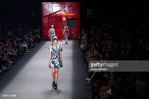 Models walk the runway during the 2nd Floor fashion show at Fashion Rio Winter 2014 at Pier Maua on November 8 2013 in Rio de Janeiro Brazil Photo by...