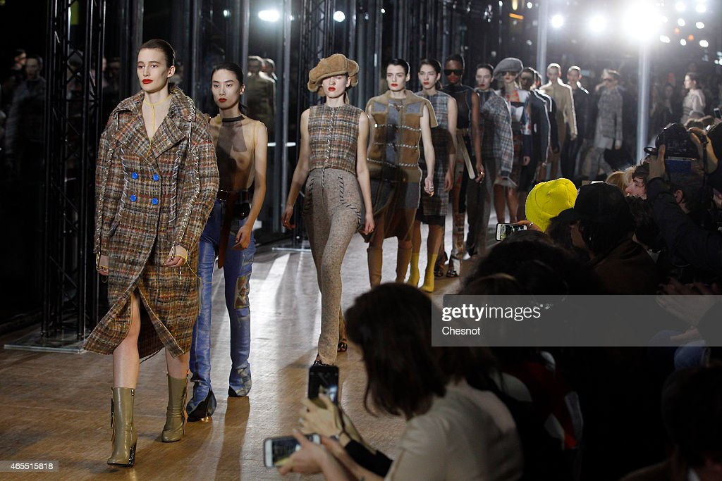 Models walk the runway during the Acne Studios show as part of the Paris Fashion Week Womenswear Fall/Winter 2015/2016>> on March 7 2015 in Paris...