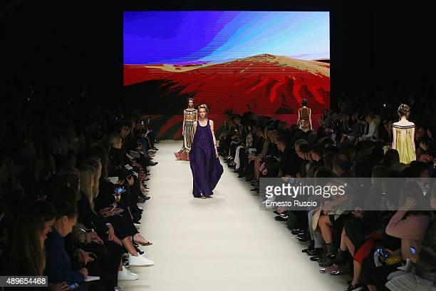 A models walk the runway during the Alberta Ferretti fashion show as part of Milan Fashion Week Spring/Summer 2016 on September 23 2015 in Milan Italy