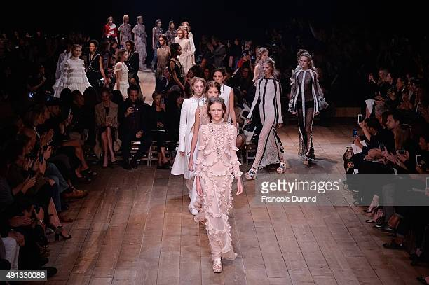 Models walk the runway during the Alexander McQueen show as part of the Paris Fashion Week Womenswear Spring/Summer 2016 on October 4 2015 in Paris...