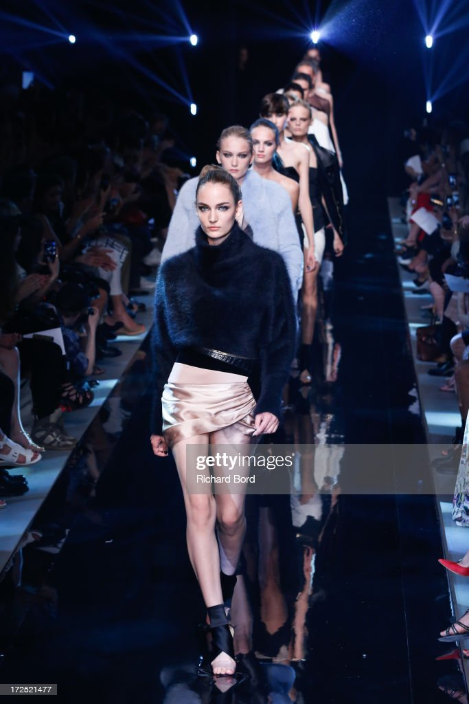 Models walk the runway during the Alexandre Vauthier show as part of Paris Fashion Week Haute-Couture Fall/Winter 2013-2014 at Palais De Tokyo on July 2, 2013 in Paris, France.