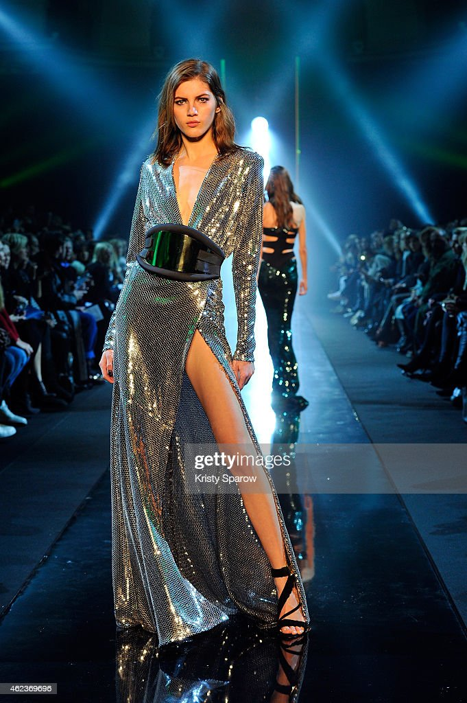 Models walk the runway during the Alexandre Vauthier show as part of Paris Fashion Week Haute Couture Spring/Summer 2015 on January 27 2015 in Paris...