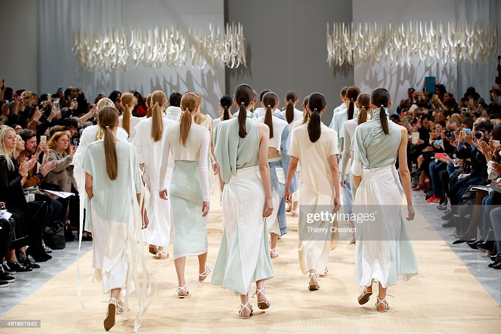 Models walk the runway during the Allude show as part of the Paris Fashion Week Womenswear Spring/Summer 2016 on October 7 2015 in Paris France