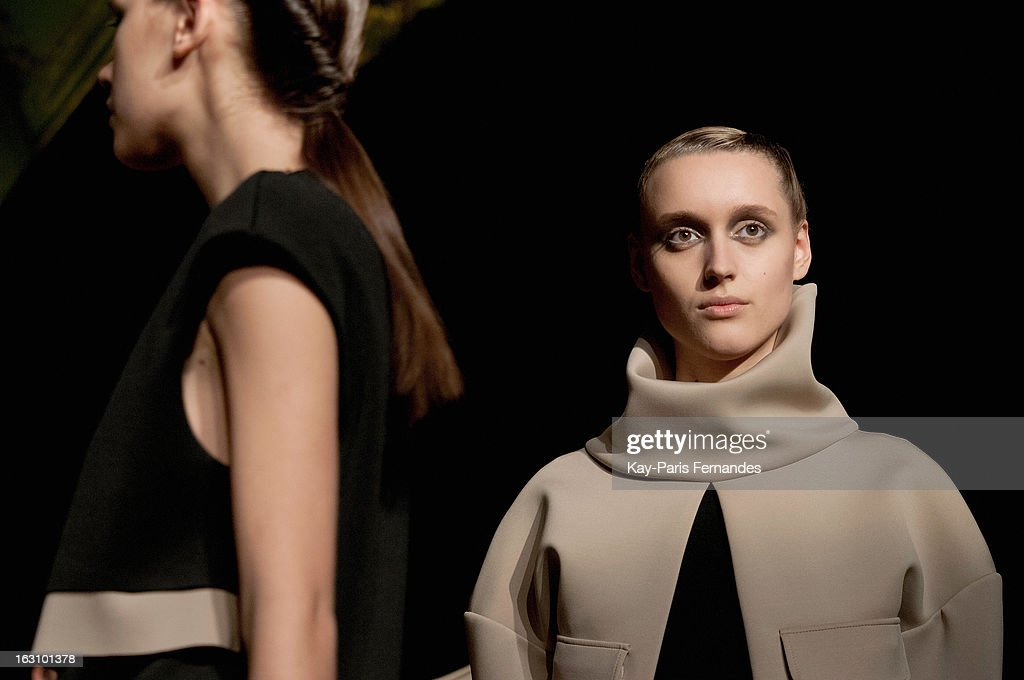 Models walk the runway during the Amaya Arzuaga Fall/Winter 2013 Ready-to-Wear show as part of Paris Fashion Week at the Ambassade D'Espagne on March 4, 2013 in Paris, France.