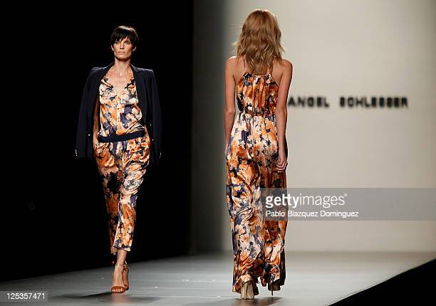 Models walk the runway during the Angel Schlesser fashion show during the Cibeles Madrid Fashion Week Spring/Summer 2012 at Ifema on September 16...
