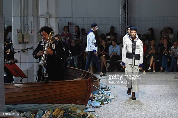 Models walk the runway during the Antonio Marras fashion show as part of Milan Men's Fashion Week Spring/Summer 2016 on June 22 2015 in Milan Italy