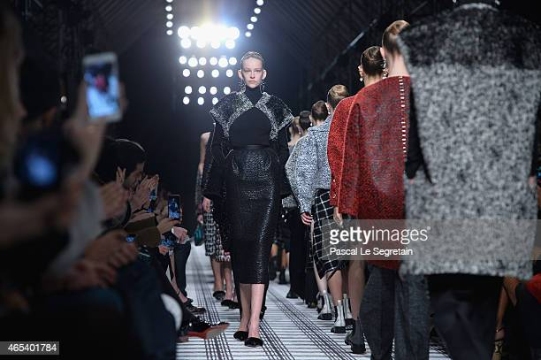 Models walk the runway during the Balenciaga show as part of the Paris Fashion Week Womenswear Fall/Winter 2015/2016 on March 6 2015 in Paris France