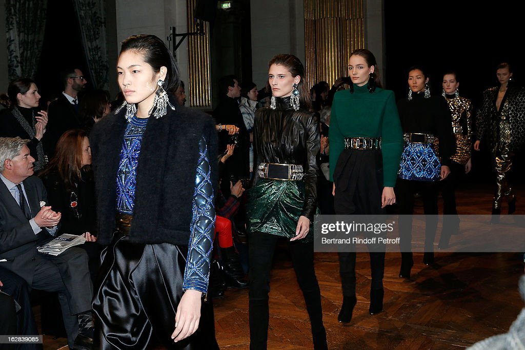 Models walk the runway during the Balmain Fall/Winter 2013 Ready-to-Wear show as part of Paris Fashion Week on February 28, 2013 in Paris, France.