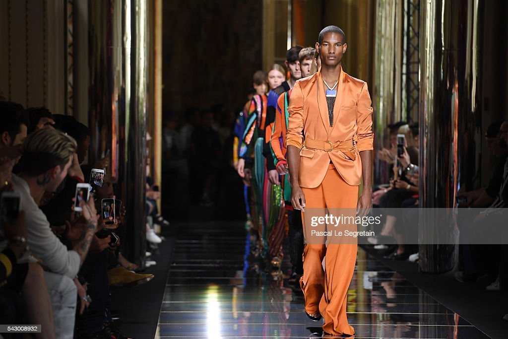 Models walk the runway during the Balmain Menswear Spring/Summer 2017 show as part of Paris Fashion Week on June 25, 2016 in Paris, France.