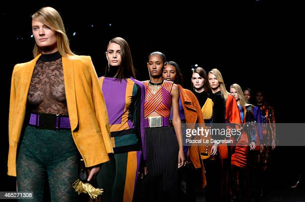 Models walk the runway during the Balmain show as part of the Paris Fashion Week Womenswear Fall/Winter 2015/2016 on March 5 2015 in Paris France