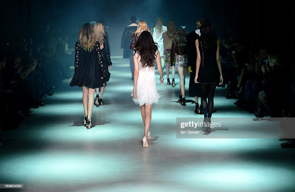 Models walk the runway during the Best of Mercedes-Benz Fashion Week Istanbul Fall/Winter 2013/14 at Antrepo 3 on March 16, 2013 in Istanbul, Turkey.