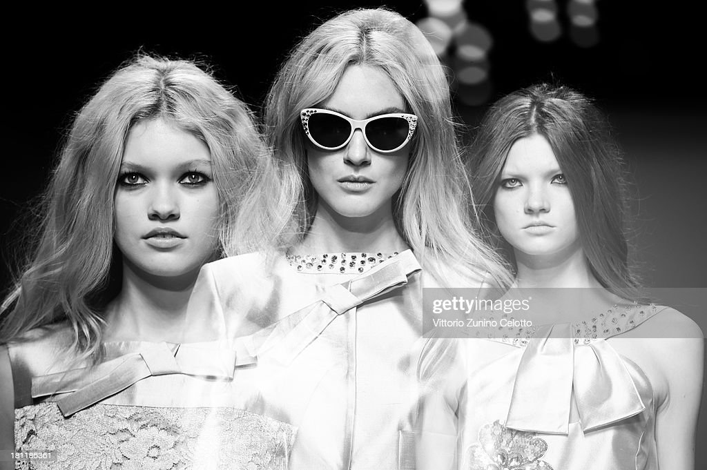 Models walk the runway during the Blugirl show as a part of Milan Fashion Week Womenswear Spring/Summer 2014 on September 19, 2013 in Milan, Italy.