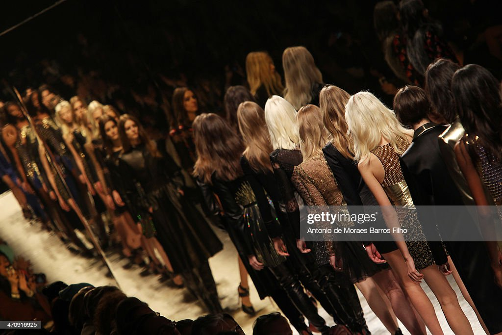 Models walk the runway during the Blumarine show as a part of Milan Fashion Week Womenswear Autumn/Winter 2014 on February 21, 2014 in Milan, Italy.
